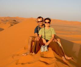 I due protagonisiti sulle dune dorate di Ubari Lakes