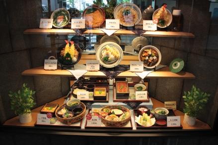 Vetrina di ristorante alla stazione dei treni di Kyoto