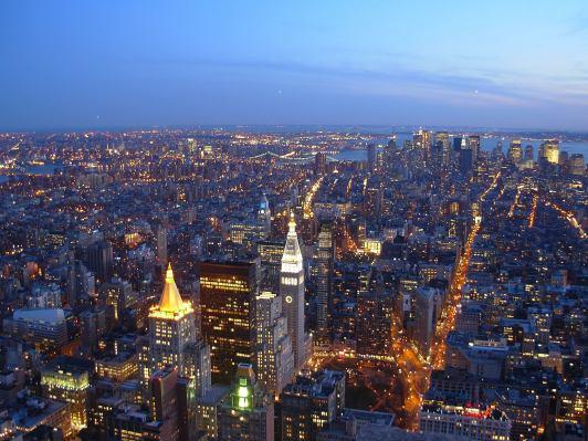 Vista dall' Empire State Building al tramonto