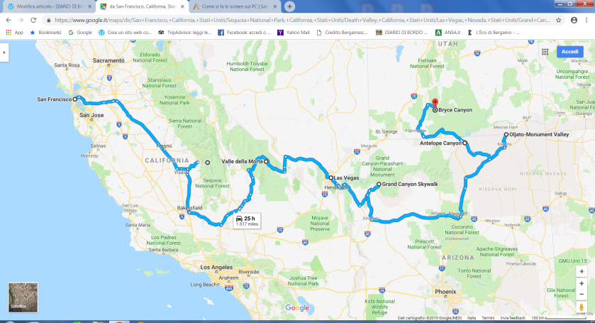 Percorso Parchi USA senza Yellowstone