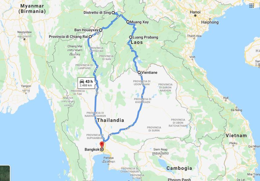 Percorso Laos dalla Thailandia