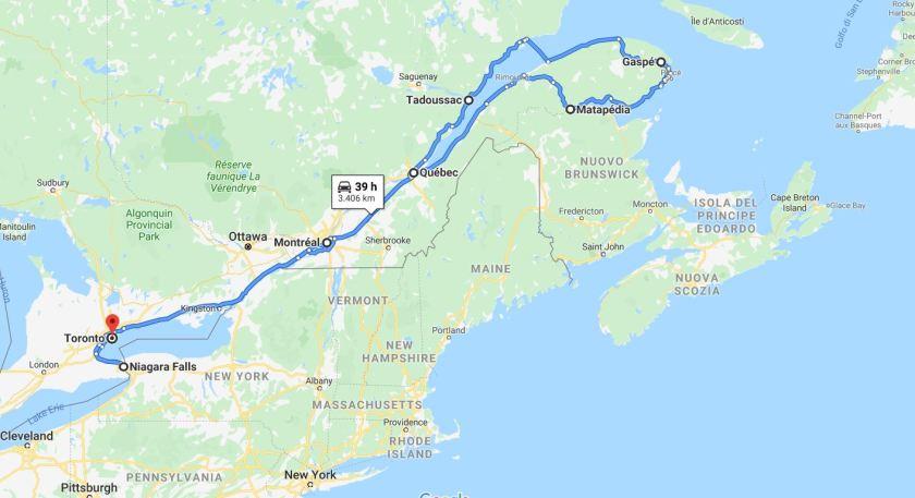Percorso Canada Orientale